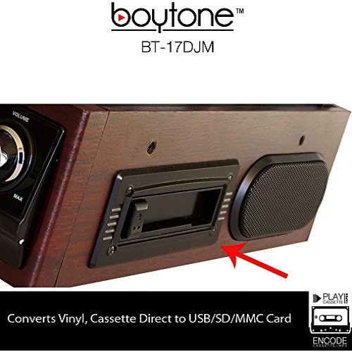 Boytone BT-17DJM-C 3-speed Stereo Turntable, 2 Built in Speakers Digital LCD Display