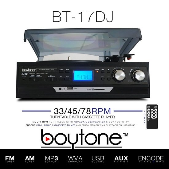 BOYTONE BT-17DJS-C 3-Speed Turntable 2 Built in Speakers Digital LCD Displa