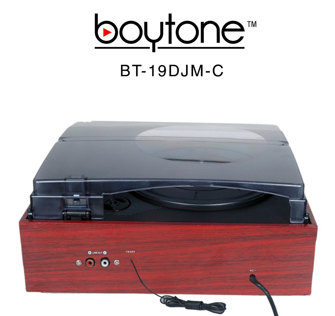BOYTONE BT-19DJM-C 3-Speed Stereo Turntable - 33/45/78 RPM with AM-FM Radio