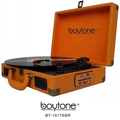 Boytone BT-101TBBR Turntable Portable Suitcase Style Belt-Drive 3-speed with FM Radi