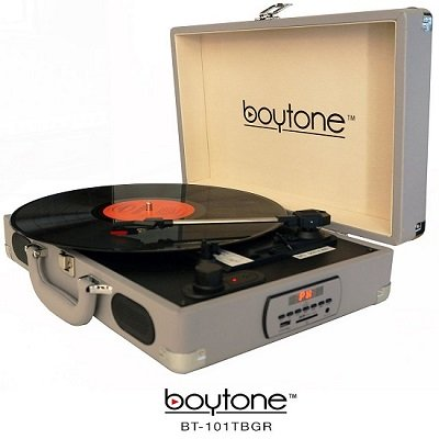 Boytone BT-101TBGR Turntable Portable Suitcase Style Belt-Drive 3-speed with FM Radi