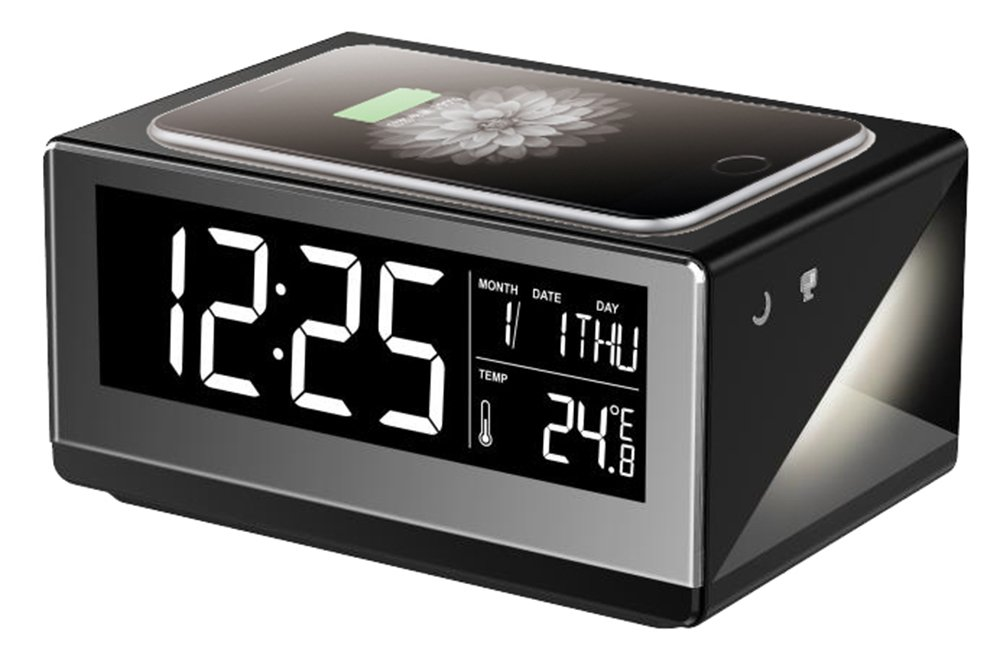 Boytone BT-12B Fast Wireless Charging Digital Alarm Clock with Temperature & Calendar Display, Bed Light
