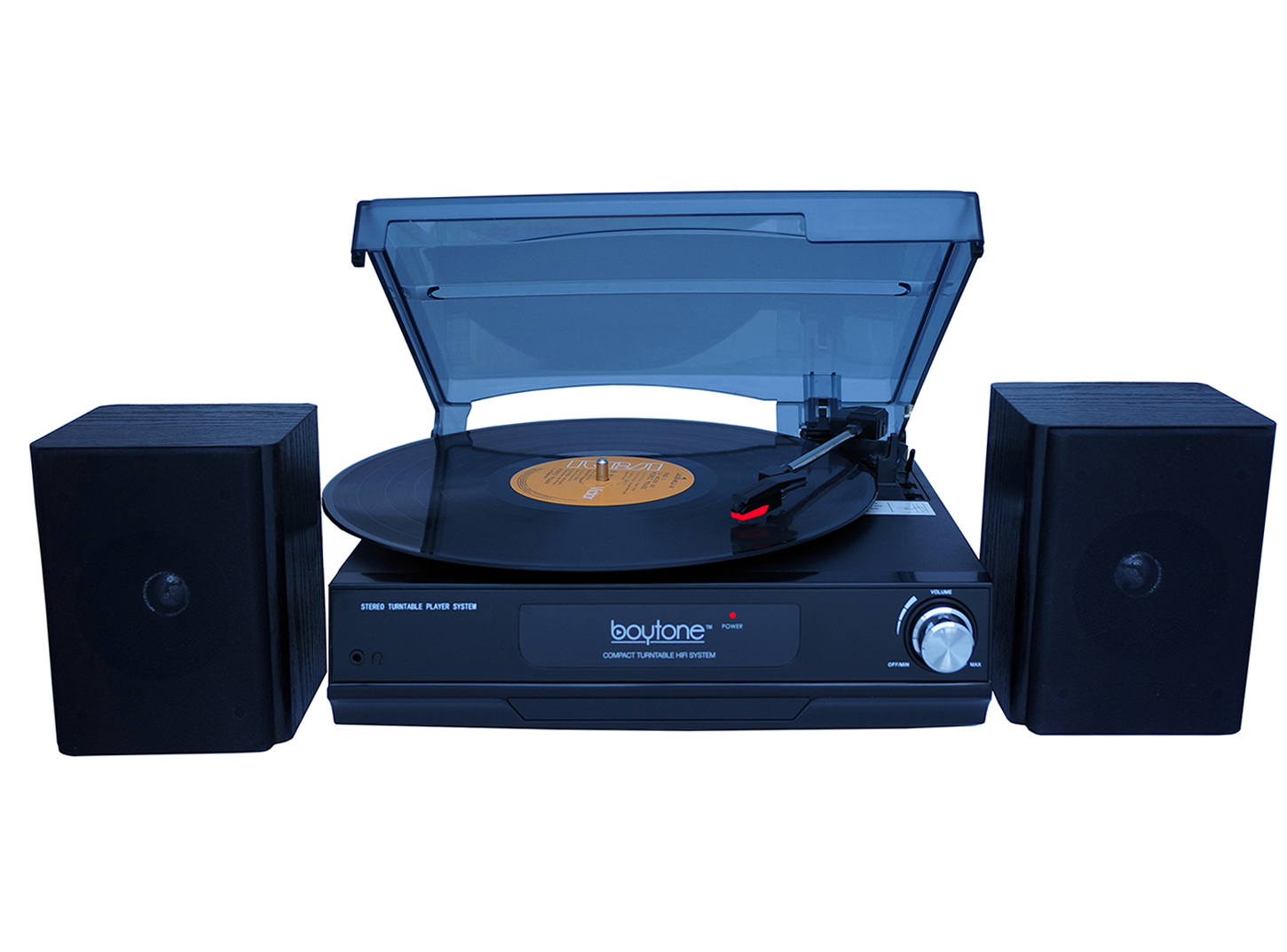 Boytone BT-14TBB-SP 3 Speed Stereo 33/45/78 RPM Turntable with 2 detachable Speakers