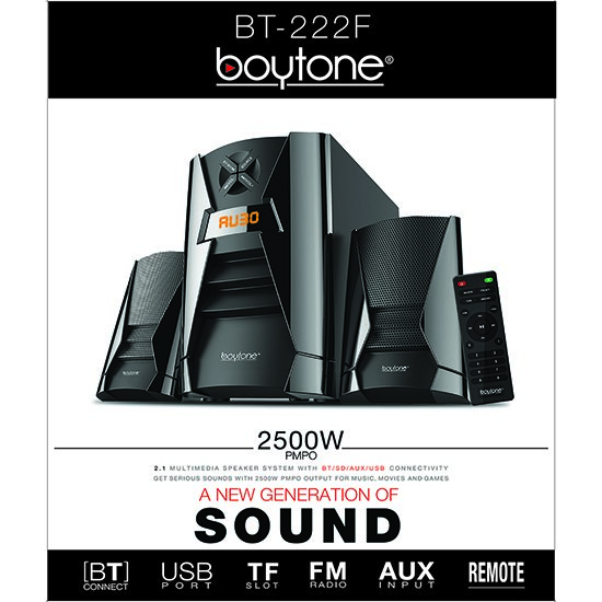 Boytone BT-222F, Wireless Bluetooth 2.1 Multimedia 40 watts, Powerful Bass System wi