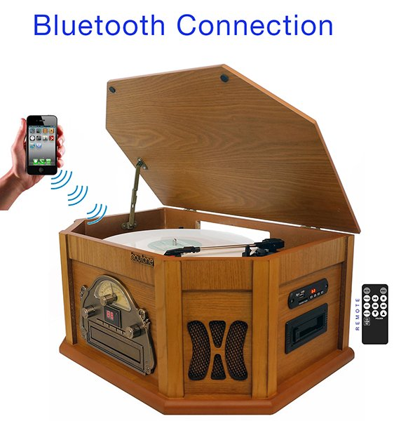 8-in-1 Boytone BT-25PW with Bluetooth Connection Natural wood Classic Turntable