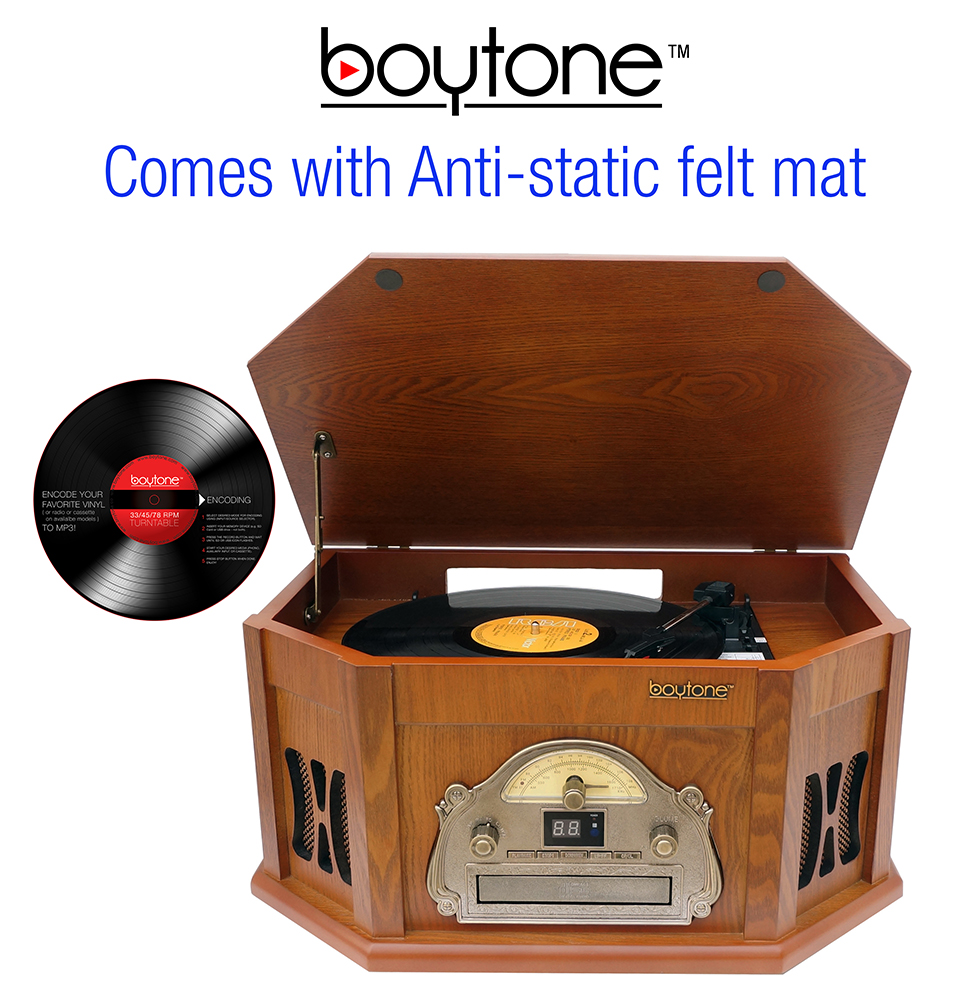 8-in-1 Boytone BT-25WB with Bluetooth Connection Natural wood Classic Turntable Ster