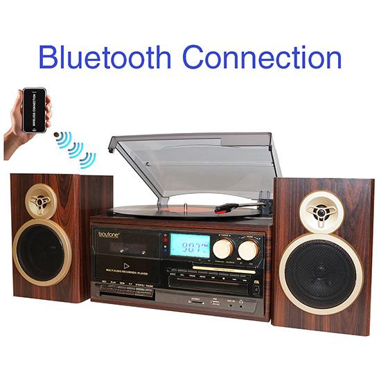 Boytone BT-28SPM, Bluetooth Classic Style Record Player Turntable with AM/FM Radio,