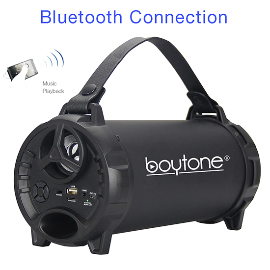 Boytone BT-40BK Portable Bluetooth Indoor/Outdoor Speaker 2.1 Hi-Fi Cylinder Loud Speaker with Built-in 2x3 Sub