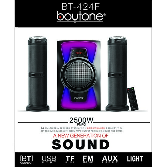 Boytone BT-424F, 2.1 Bluetooth Powerful Home Theater Speaker System, with FM Radio,