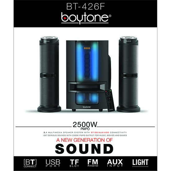 Boytone BT-426F, 2.1 Bluetooth Powerful Home Theater Speaker System, with FM Radio,