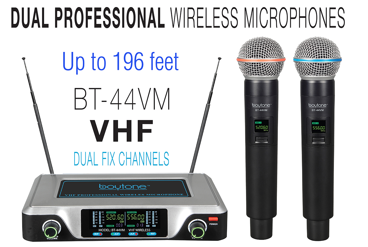 Boytone BT-44VM Dual Digital Channel Wireless Microphone System - VHF Fixed Frequency Wireless Mic