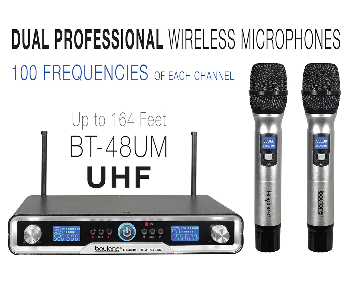 Boytone BT-48UM 100 Channels Pro Dual UHF Wireless Digital Metal Microphone-Base System, 2 Handheld