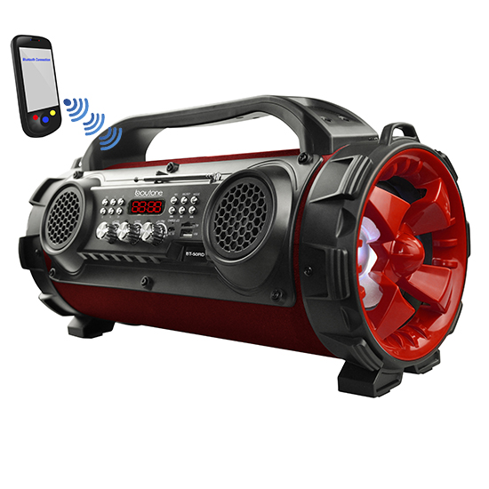 Boytone BT-50RD Portable Bluetooth Speaker, Indoor/Outdoor 2.1 Hi-Fi Cylinder Built-in 2 x 5 Subwoofer