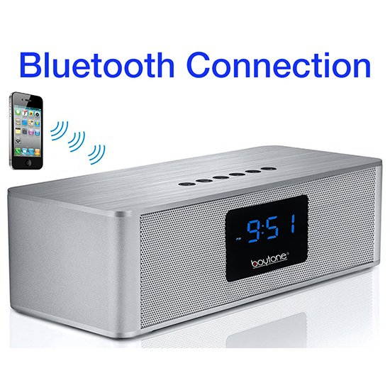 Boytone BT-88CB Bluetooth 4.1 Portable Alarm Clock Radio Wireless Speaker, Digital F
