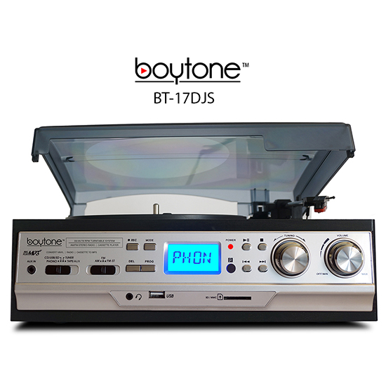 Boytone BT-17DJS 3-Speed Stereo Turntable 33/45/78 RPM with AM-FM Radio