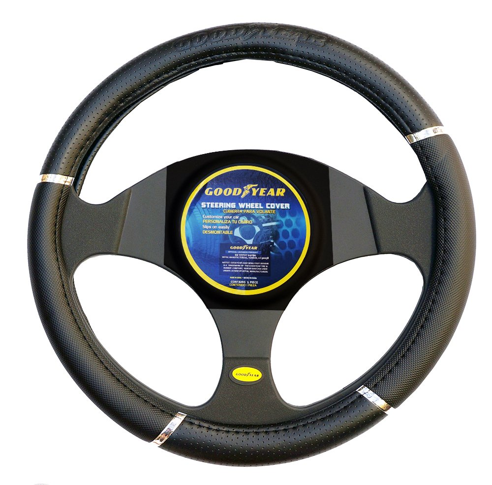 "Goodyear Dia 14.5-15.5"" Black Leather Grey Suede Steering Wheel Cover SWC-1304"