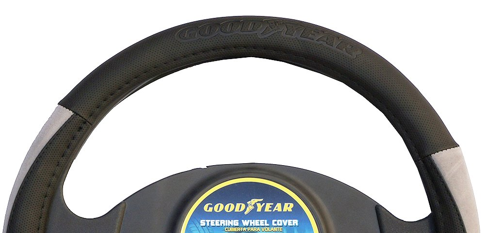 "Goodyear Dia 14.5-15.5"" Black Leather Grey Suede Steering Wheel Cover SWC-1309"