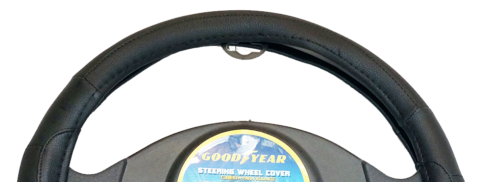 "Goodyear Dia 14.5-15.5"" Black Leather Grey Suede Steering Wheel Cover SWC-1307"