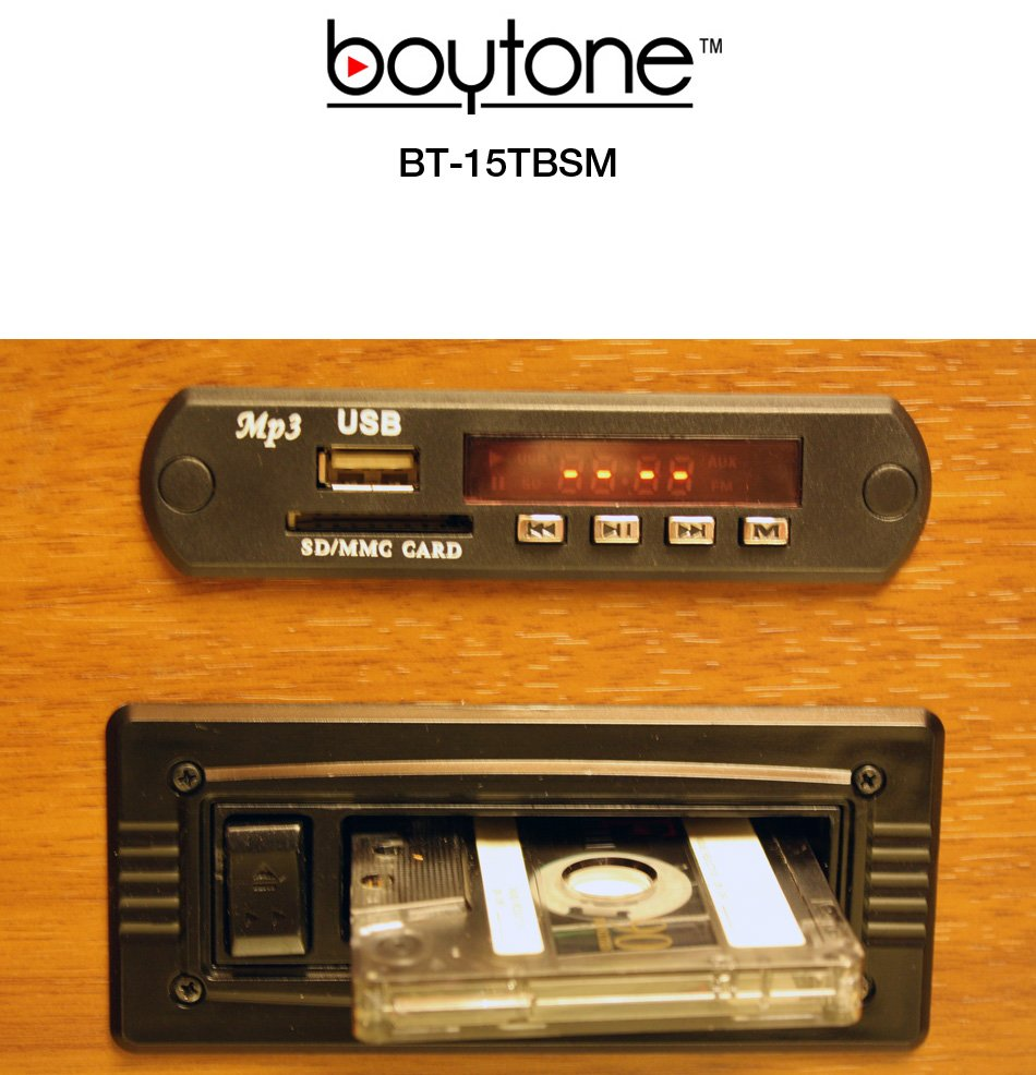 BOYTONE BT-15TBSM Home Audio Classical Vintage Turntable CD Player with AM/FM Radio