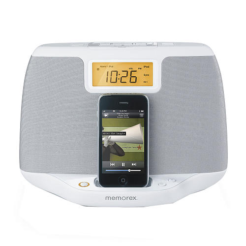 Memorex Sound System iPod Clock Radio, White
