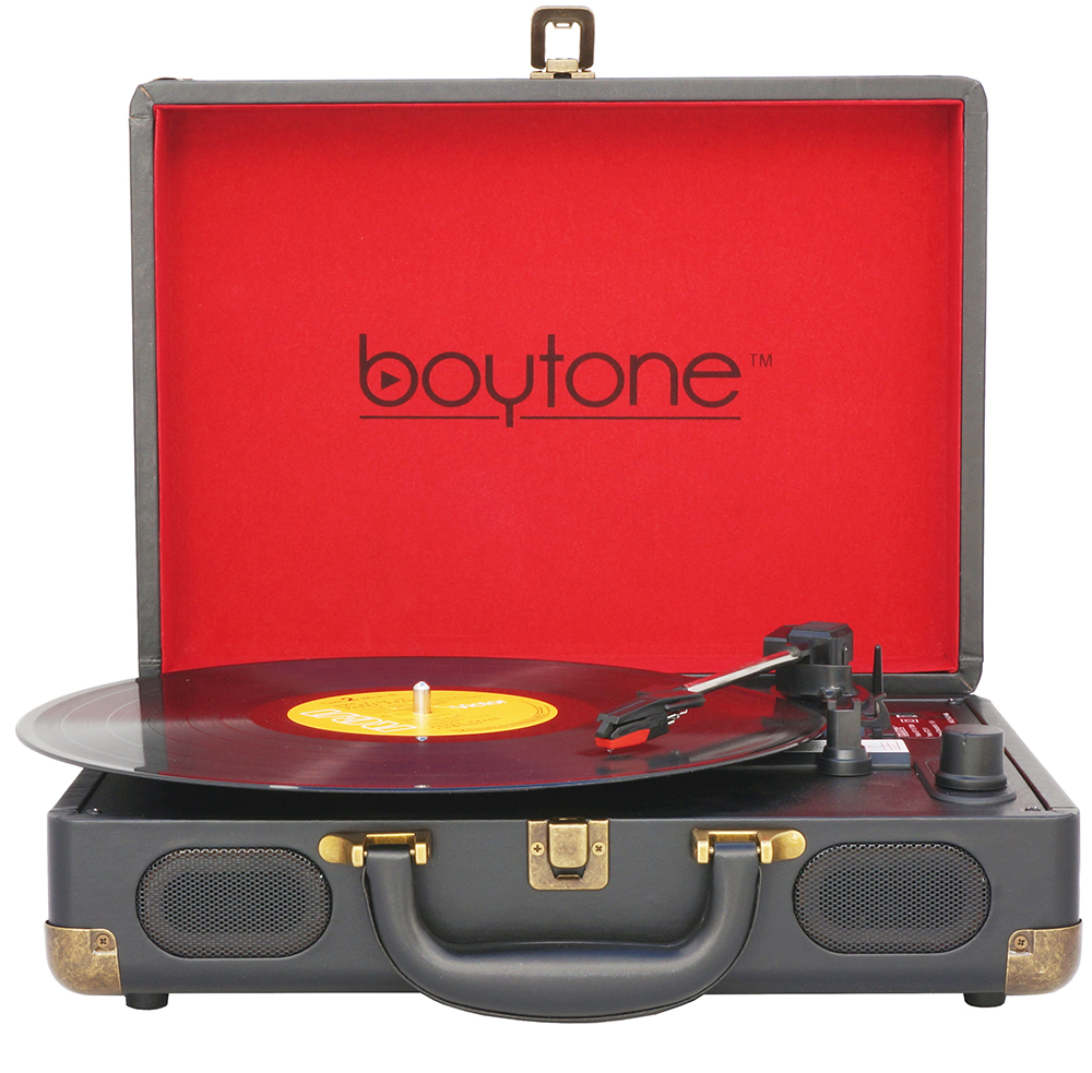 Boytone BT-101B Bluetooth Turntable Briefcase Record player AC-DC, Built in Recharge