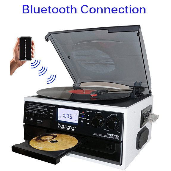 Boytone BT-22WT, Bluetooth Record Player Turntable, AM/FM Radio, Cassette, CD Player