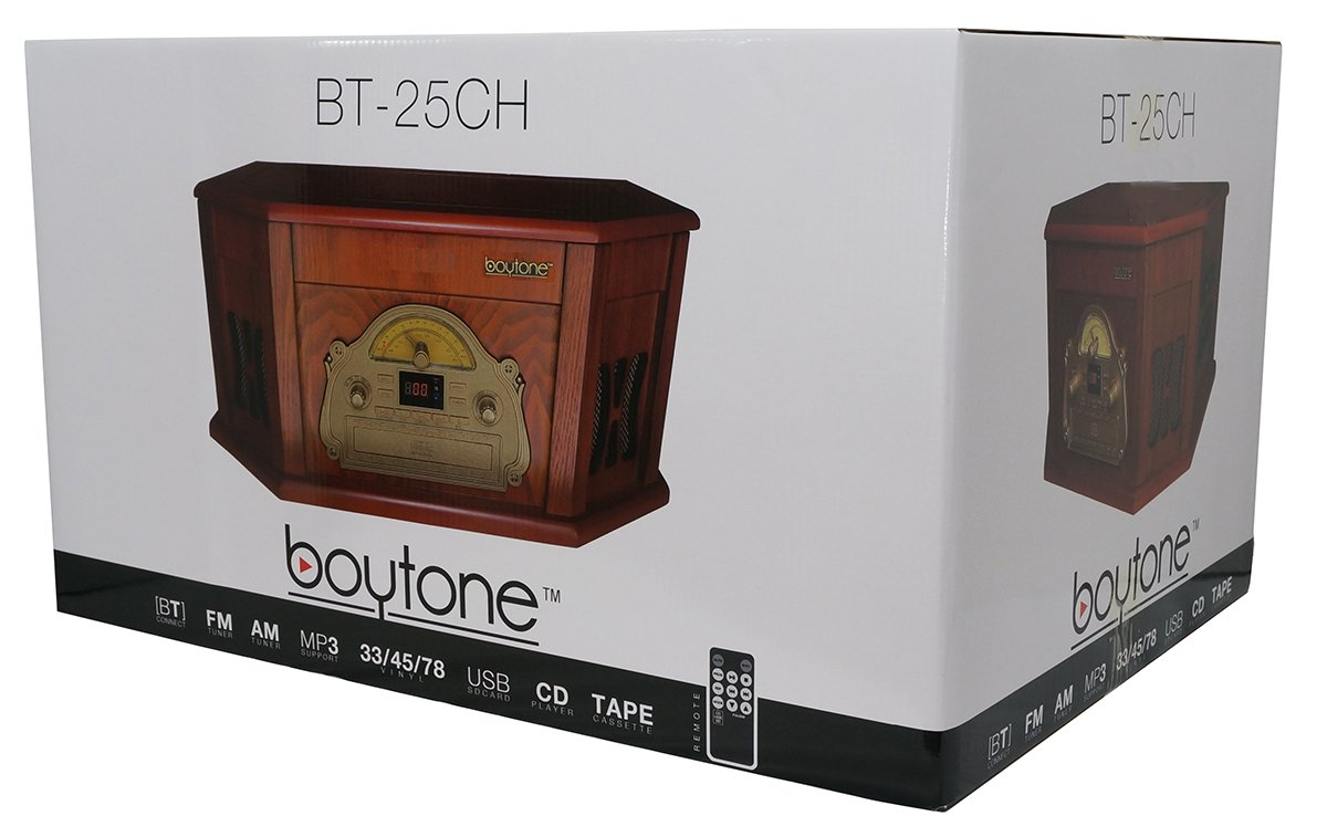 Boytone BT-25CH 8-in-1 Natural Wood Classic Turntable Stereo System with Bluetooth C