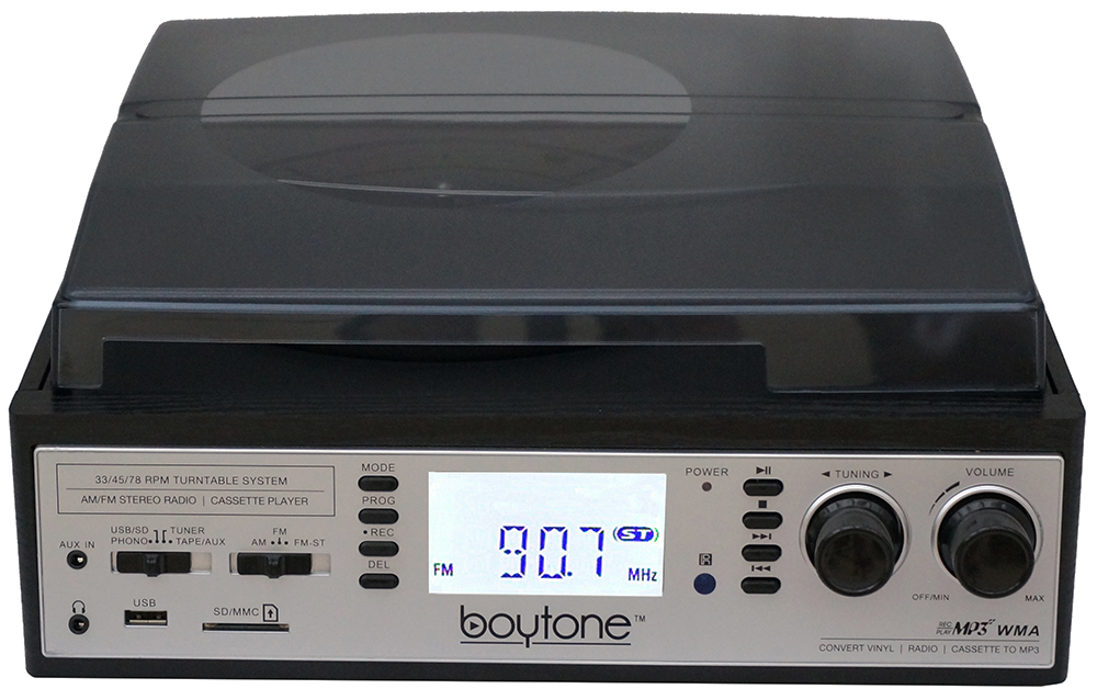 Boytone BT-19DJS-C 3-speed Turntable, 2 Built in Speakers Large Digital Display AM/F