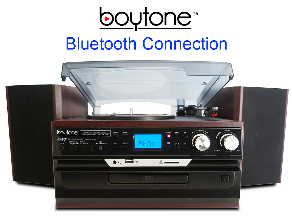 Boytone BT-24DJM Turntable with Bluetooth Connection, 3 Speed 33, 45, 78 Rpm, CD, Ca