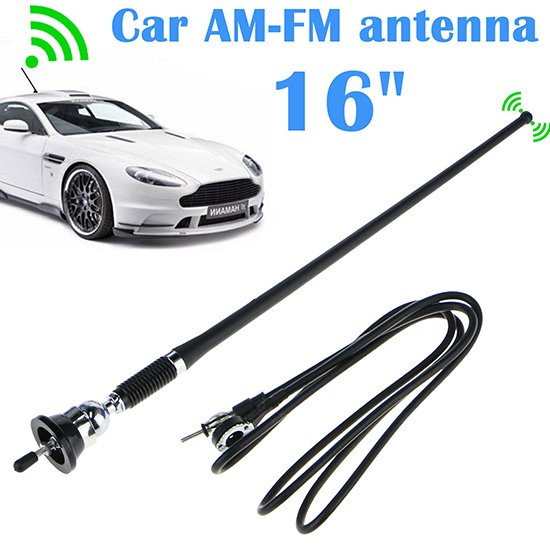 "16"" Universal Mount Swivel Base Car Radio AM/FM Amplified Signal Aerial Antenna"