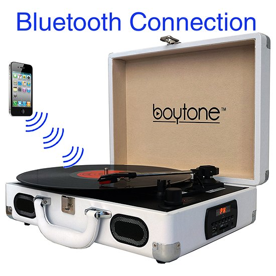 Boytone BT-101WT Bluetooth Turntable Briefcase Record player AC-DC, Built in Recharg