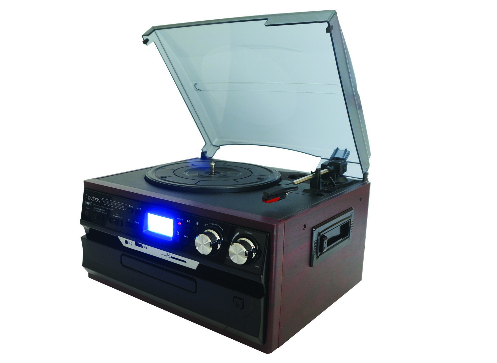 Boytone BT-21DJM-CDSP 3-Speed Turntable with CD/MP3/ AM/FM Radio/Cassette/USB and Vi